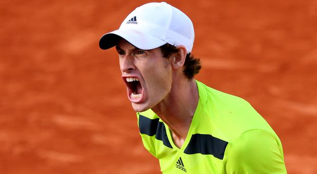 Andy Murray reacts during his men's singles match against Fernando Verdasco of Spain