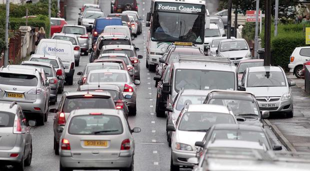 Gridlock during the Belfast rush hour