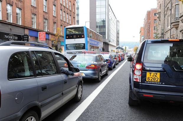 Traffic was gridlocked in Belfast on Monday