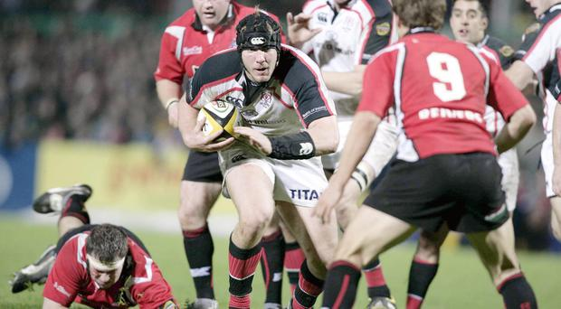 Early days: Stephen Ferris, playing for Ulster in 2006, demonstrates the talent that would take him to the very top of the sport