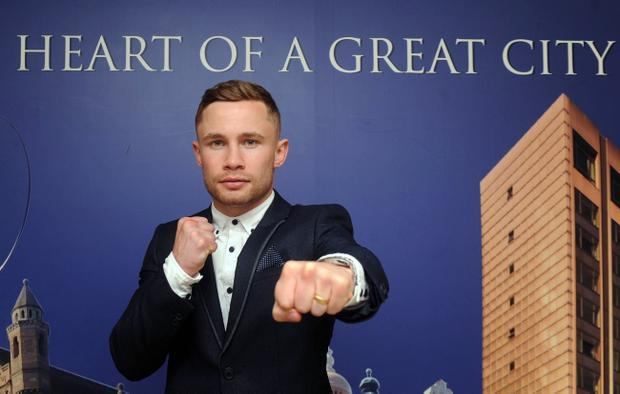 Carl Frampton at a press conference at the Europa Hotel in Belfast on Wednesday. Pic Colm Lenaghan/Pacemaker