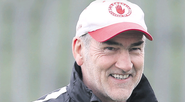 All smiles again: Mickey Harte has made up with GAA President Liam O'Neill after their public spat