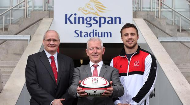 Ulster Rugby's Ravenhill is to be renamed Kingspan. Pictured are Shane Logan, Chief Executive Ulster Rugby, Pat Freeman, Managing Director of Kingspan Environmental and Ulster Rugby player Tommy Bowe