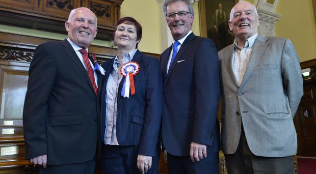 UUP's Jim Rodgers and Sonya Copeland pictured with party leader Mike Nesbitt and Jeff Dudgeon. Pic Stephen Hamilton/Presseye