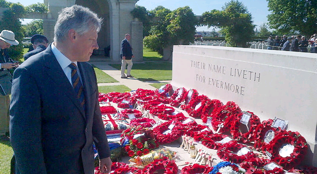 First Minister Peter Robinson has attended the 70th D-Day commemorations in Normandy. He is pictured following a service at Bayeux Cemetry.