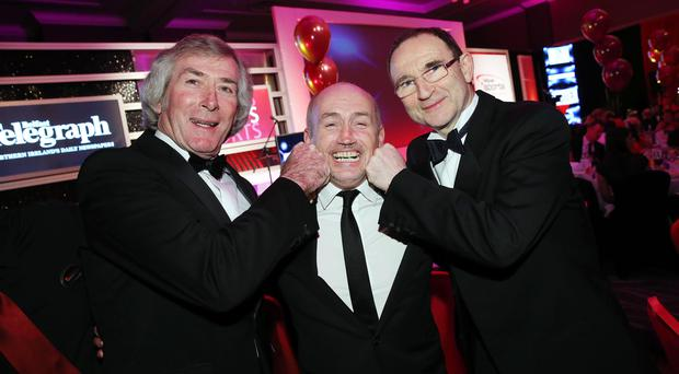 Pat Jennings, Barry McGuigan and Martin O'Neill pictured at the Belfast Telegraph Sports Awards 2013, sponsored by Linwoods.