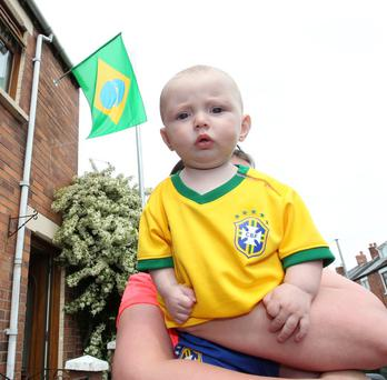 Brazil World Cup supporter Bobby Maginn at Iris Drive off the Springfield Road. Pic Brian Little