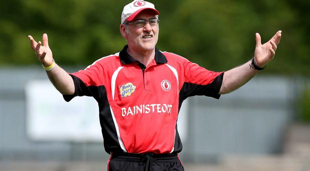 Frustration: Mickey Harte watches his side lose to reigning champions Monaghan
