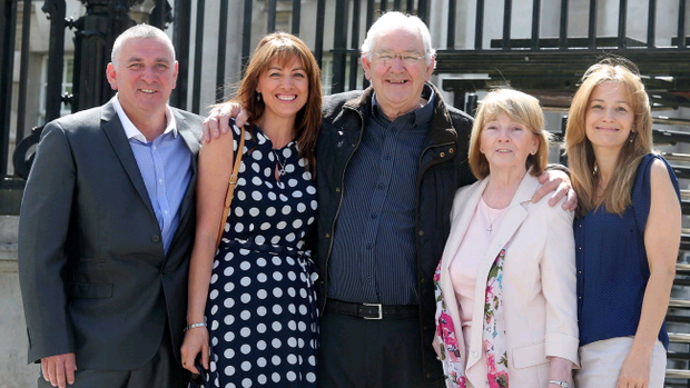 Frank Newell has his conviction for armed robbery overturned after 40 years today. Mr Newell (centre) was convicted in 1973 of robbing a post office at gunpoint. He is pictured with his son Frank, daughter Franchine Young, his wife Myrtle and daughter Angela outside the High Court in Belfast. Photo-Jonathan Porter/Presseye.