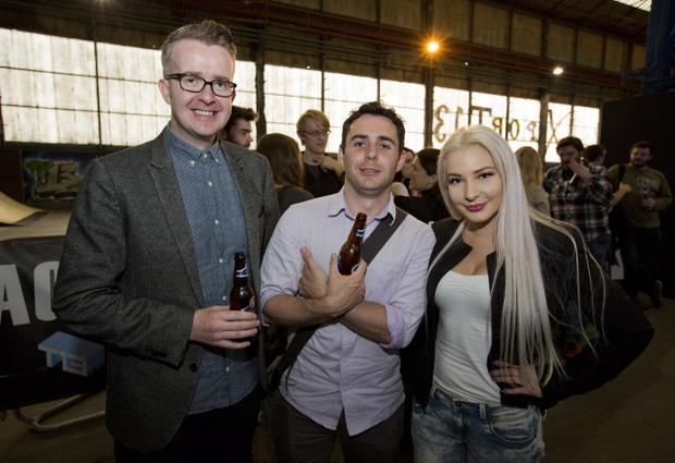 David Meade, Kieran Doherty and Laura Lacole at the last Friday night Mash Up at T13 in Belfast's Titanic Quarter