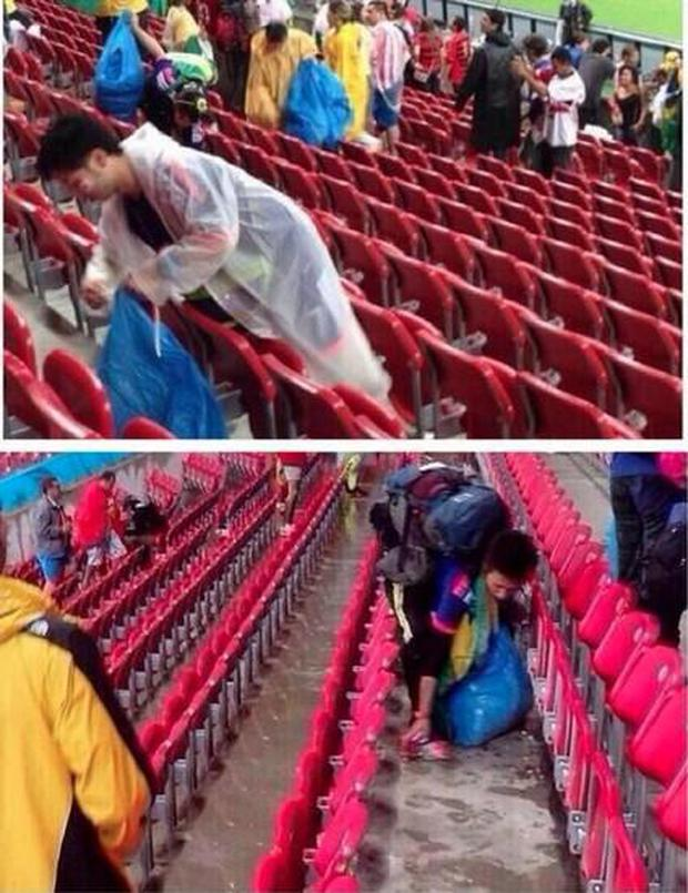 Images posted on Twitter showed some Japanese fans clearing up
