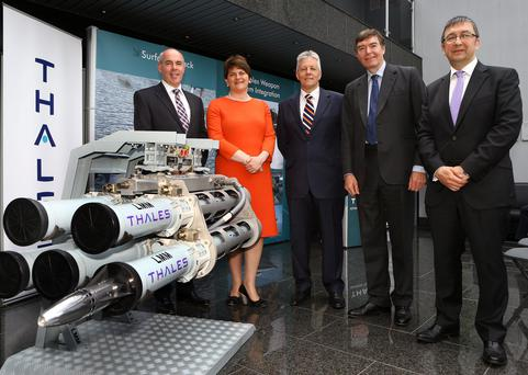 David Beatty of Thales UK's Belfast facility, Enterprise Minister Arlene Foster, First Minister Peter Robinson, Philip Dunne MP, Minister for Defence Equipment, and Victor Chavez of Thales UK