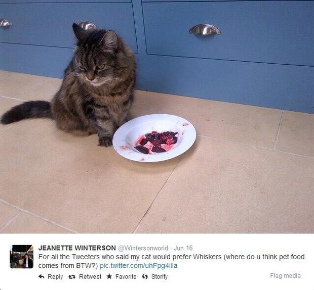Jeanette Winterson then tweeted a picture of her cat with the rabbit meat