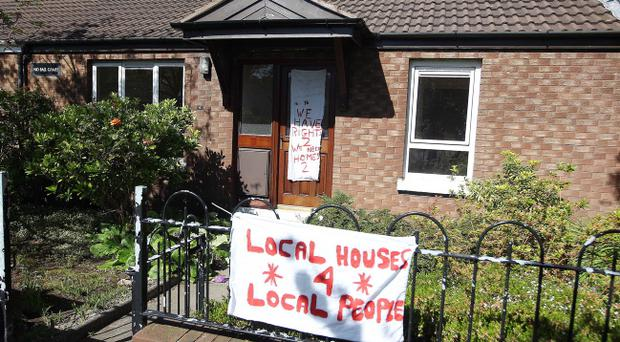 The banners erected outside a house in Glenluce Drive in the Knocknagoney area of east Belfast. Pic Jonathan Porter/Presseye
