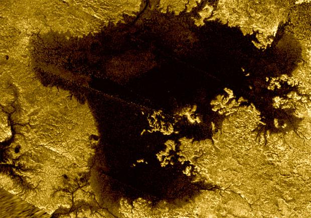 Nasa photo of Titan's north polar sea Ligeia Mare captured by the Cassini probe