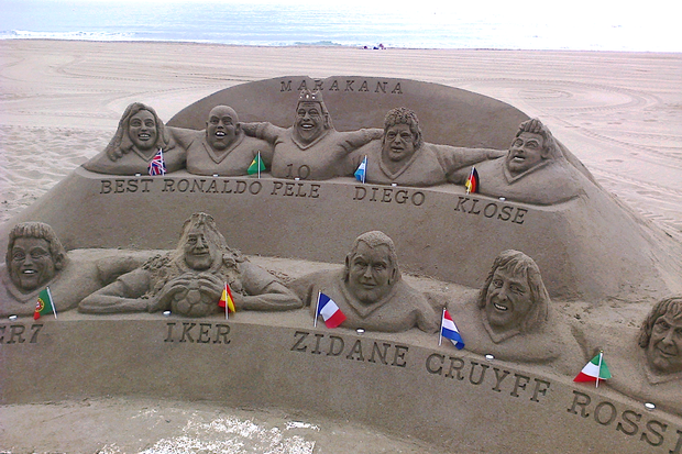 George Best features alongside Pele, the two Ronaldos, Zidane, Cruyff and Maradona in the Los Boliches sand sculpture.