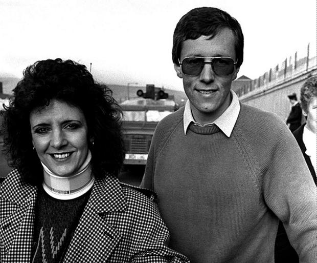 Peter Robinson pictured with his wife Iris after his release from Crumlin Road Prison where he spent four days in jail for his non payment of road tax in opposition to the Anglo-irish Agreement Sept 1987