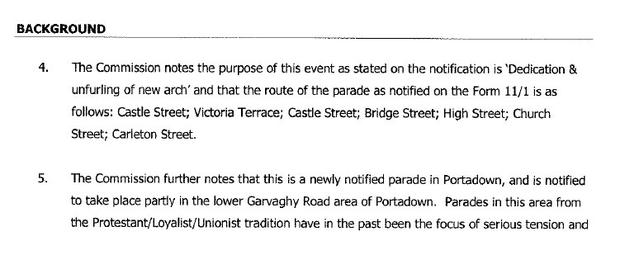 The march route outlined in the Parades Commission determination