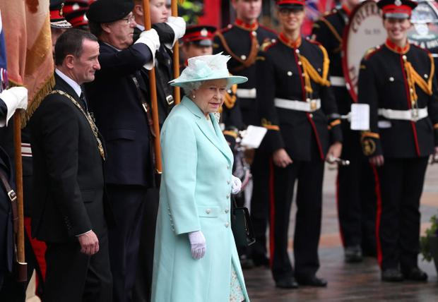 Queen Elizabeth II attends a service at the war memorial on June 25, 2014 in Coleraine (Photo by Peter Macdiarmid/Getty Images)
