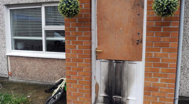 The scene of a house at Carnbrock Drive in Antrim after liquid was poured through the letter box of the house. Pic Colm Lenaghan/Pacemaker