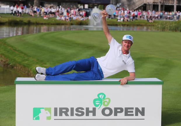 Mikko Ilonen holds up the Irish Open trophy, 2014 Irish Open, Fota Island Resort, Cork 22/6/2014. Photo: INPHO/Cathal Noonan