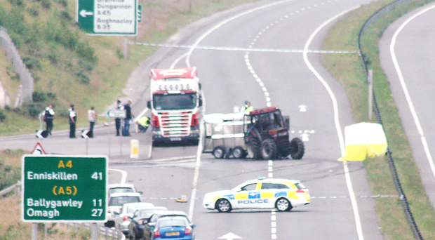 The lorry and a tractor and trailer collided on the Killybracken Road area of Dungannon