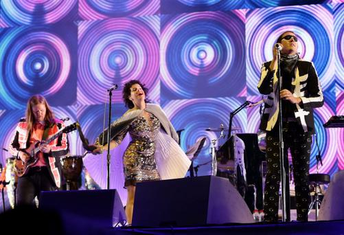 Arcade Fire performing on the Pyramid Stage at the Glastonbury
