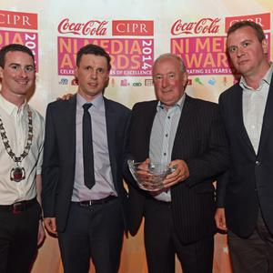CIPR LIFETIME ACHIEVEMNT AWARD ?Pictured is Chris Love, CIPR NI Chair, Martn Breen Sunday Life, Martin Lindsay Lifetime Achievement winner and Phil Morgan, Deputy Chief Executive of the CIPR UK. Photo by Simon Graham/Harrion Photography