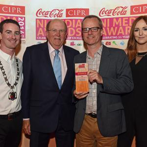 CIPR OVERALL JOURNALIST OF THE YEAR ?Pictured is Mike Gilson, The Belfast Telegraph with Chris Love CIPR NI, Bob Satchwell, Executive Director Society of Editors & Nicci Gregg Coca Cola