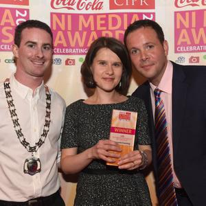 Business editor Margaret Canning with Chris Love & Simon Little
