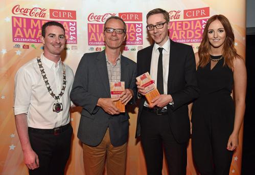 Daily Newspaper of the Year & Overall Newspaper of the Year. Pictured is Mike Gilson and Ed McCann The Belfast Telegraph with Chris Love CIPR NI & Nicci Gregg Coca Cola. Photo by SImon Graham/Harrison Photography