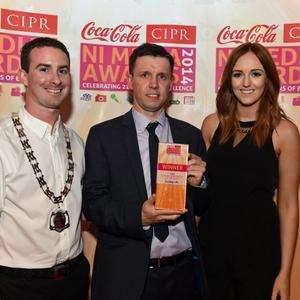 CIPR SUNDAY NEWSPAPER OF THE YEAR? Pictured is Martin Breen Sunday Life with Chris Love CIPR NI & Nicci Gregg Coca Cola. Photo yb Simon Graham/Harrison Photography