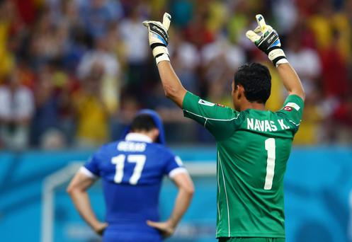Keylor Navas of Costa Rica reacts after saving the penalty kick of Theofanis Gekas