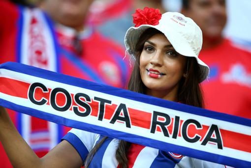 A Costa Rica fan enjoys the atmosphere