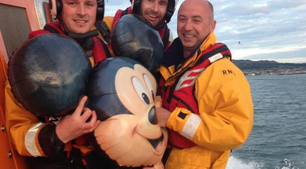 The Mickey Mouse balloon which was found by a lifeboat crew. Pic RNLI