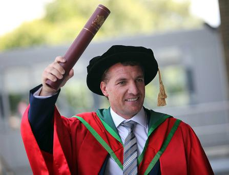 Brendan Rodgers receives his honorary degree. Pic Aidan O'Reilly Pacemaker Press