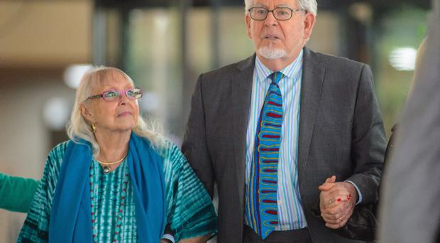 Rolf Harris leaves Southwark Crown Court, with his wife Alwen, after being found guilty of 12 sex charges involving four women. Pic Dominic Lipinski/PA Wire