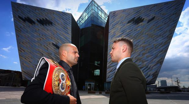 Carl Frampton and Kiko Martinez at a press conference to announce that their IBF super-bantamweight world title fight. Pic William Cherry/Presseye