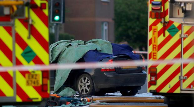 The car which collided with a motorbike in the Milltown Road area of south Belfast. Pic Kevin Scott