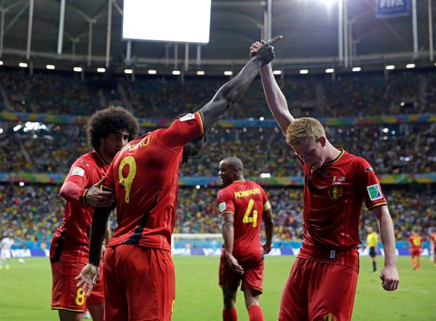 Belgium's Romelu Lukaku, left, celebrates with Kevin De Bruyne after scoring his side's second goal