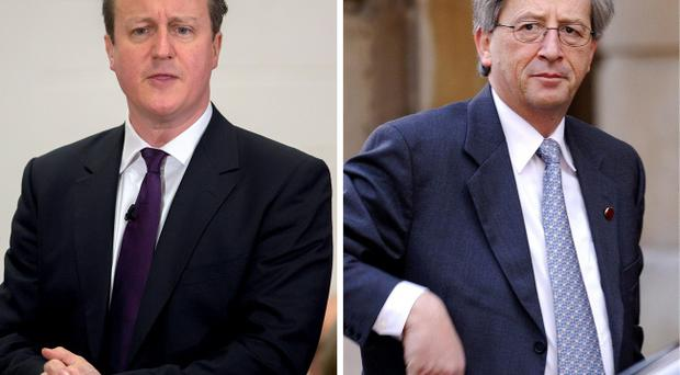 Prime Minister David Cameron (left) and Jean-Claude Juncker