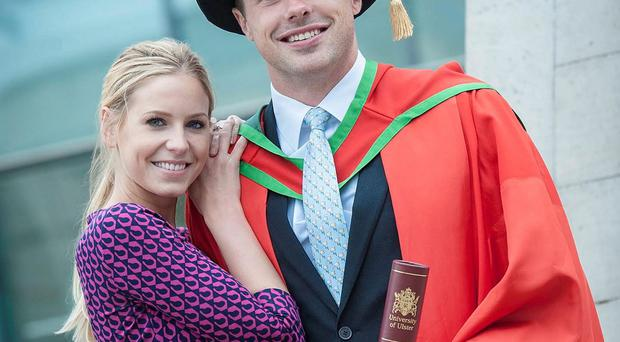 Ulster and Ireland star Tommy Bowe with fiancée Lucy Whitehouse after he received his honorary degree from the University of Ulster