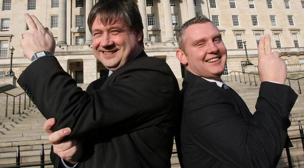 No more Bonding... Basil McCrea and John McCallister at the NI21 launch at Stormont last year