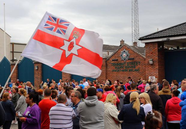 Loyalists protest at the Tennent Street Police station in north Belfast. Pic Kevin Scott