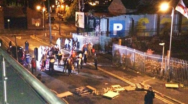 Police were called to deal with an 'illegal rave' in the Sandy Row area of Belfast. Pic Twitter