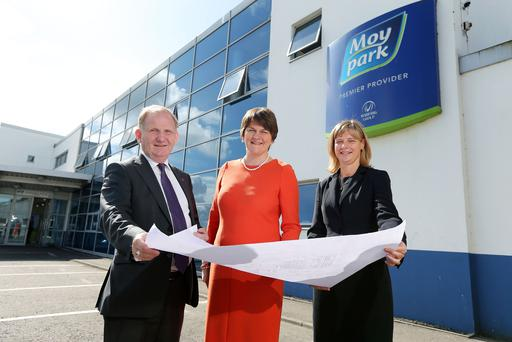 Enterprise Minister Arlene Foster is pictured with Moy Park Chief Executive Janet McCollum and Lord Morrow