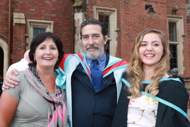 FLASHBACK TO GRADUATIONS: Catherine Wegwermer (L) cousin of Actor Ciaran Hinds and her daughter Ruth Claire (R) (who graduated in Geography First Class) are reuinted after Ciaran was honoured at Queen's University Belfast. Photo/Paul McErlane
