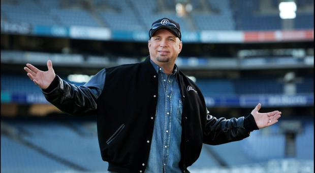 Garth Brooks on the pitch person at Croke Park in January to launch his comeback special which is now no longer going ahead