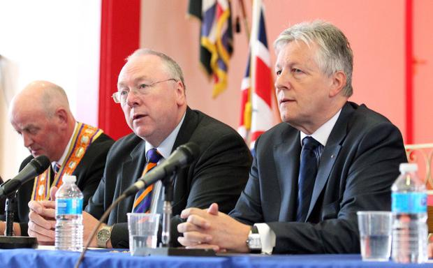 First Minister Peter Robinson, Rev Mervyn Gibson and Orange Order Grand Master Edward Stevenson attend a press conference along with Unionist Leaders and Senior Orange Order officials to announce measures in their 'graduated response' to a Parades Commission ruling in North Belfast