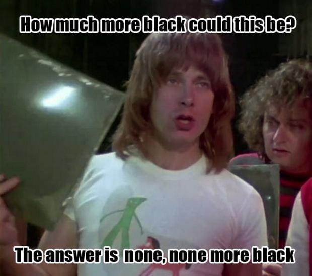 A famous scene from the movie Spinal Tap in reference to the fictional band's black album cover
